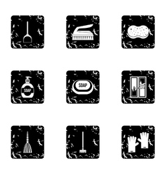 Cleaning services home icons set grunge style vector image