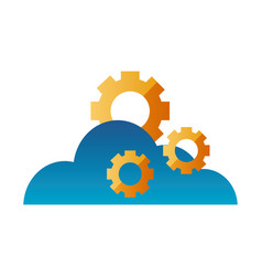 cloud computing gears technology vector image