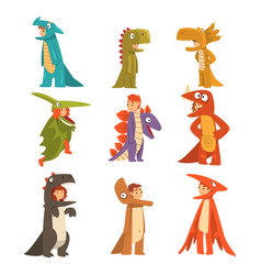 collection cute kids in costumes dinosaurs vector image