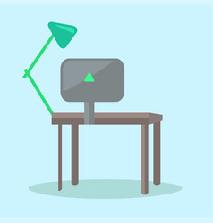 Computer desk with black monitor and reading-lamp vector