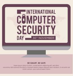 computer security day letter in monitor screen vector image