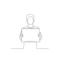 Continuous one line man holding a tablet copyspace vector
