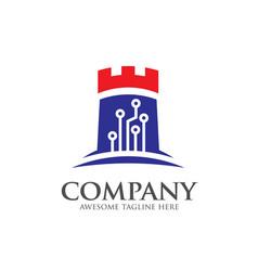 creative logo castle tech vector image