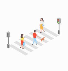 Crosswalk isometric concept vector