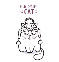 cute fat cat in a hat for greeting card design vector image