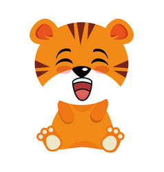 Cute tiger kawaii character vector