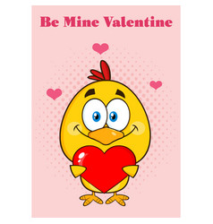 cute yellow chick holding a valentine love heart vector image