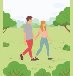 daiting on fresh air teens walks in park people vector image