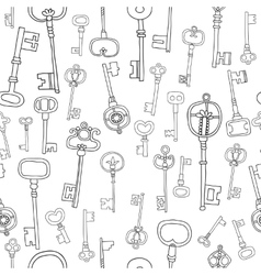 Decorative black and white vintage antique keys vector