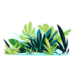 Decorative jungle plants on ground vector