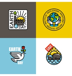 Earth day concepts set with eco-friendly factory vector image