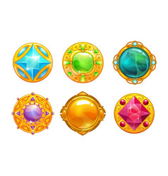 Fantasy golden amulets set vector