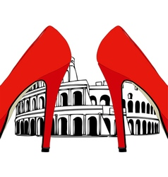 Fashion under the Colosseum Rome vector