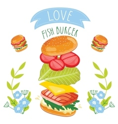 Fish burger ingredients on white background vector