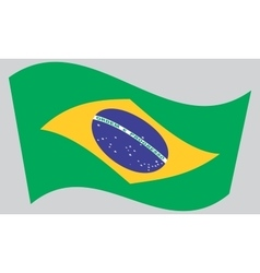 Flag of Brazil waving on gray background vector image