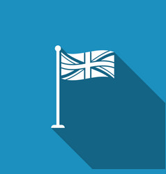 Flag of great britain on flagpole uk flag sign vector