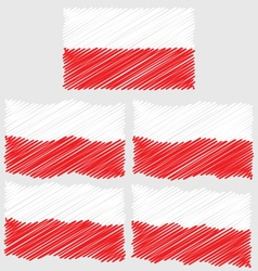 Flat and Waving Hand Draw Sketch Flag of Poland vector
