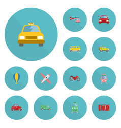 Flat icons automobile aircraft automotive and vector