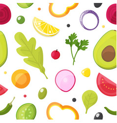 fresh vegetables seamless pattern healthy eating vector image
