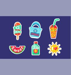 Fun summer stickers set holidays trendy bright vector