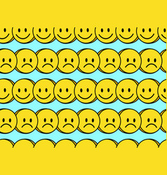 Funny smile and sad cute face seamless pattern vector