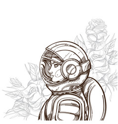 girl in a spacesuit and roses woman astronaut vector image