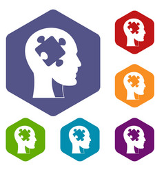 Head with puzzle icons set hexagon vector