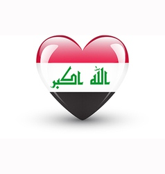 Heart-shaped icon with national flag of Iraq vector image