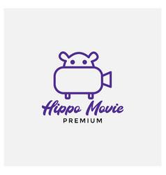 Hippo and camera logo design vector