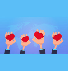 human hands holding red love heart health care vector image