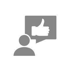 Human with thumb up in speech bubble gray icon vector