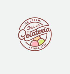 italian ice cream logo gelateria emblem sign vector image