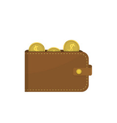 leather wallet with dollar coins vector image