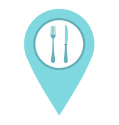 light blue map pointer with restaurant sign icon vector image