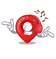listening music map pointer navigation pin mascot vector image