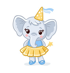 little elephant stands in a beautiful yellow dress vector image