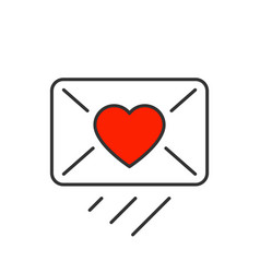 love message sendind line icon on white background vector image