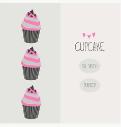 lovely beautiful yummy cartoon cupcake vector image