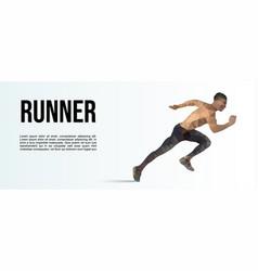 Low polygonal runner sport banner vector