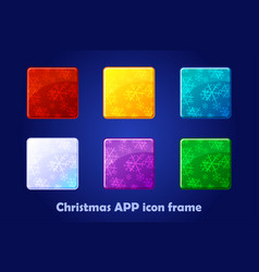 merry christmas and new year square app icons vector image
