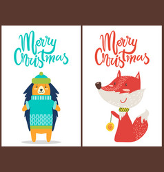 merry christmas hedgehog fox vector image