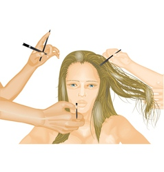Model and hands of stylists vector