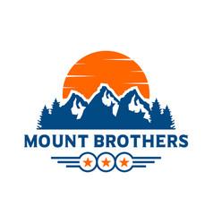 mountain landscape emblem logo design vector image