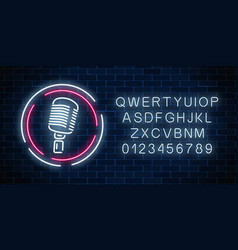 neon signboard with microphone in round frame vector image