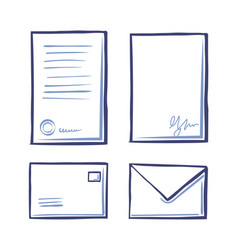 office paper documents and envelopes set vector image