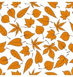 Orange autumn leaves seamless pattern background vector