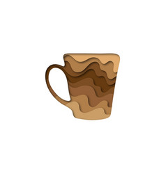 Paper cut shape cup of coffee 3d origami vector