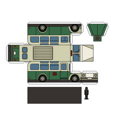 Paper model of an old green bus vector