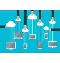 Peoples using gadgets in cloud service vector image