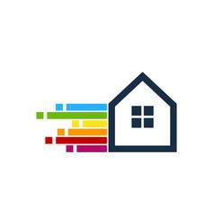 pixel art house logo icon design vector image